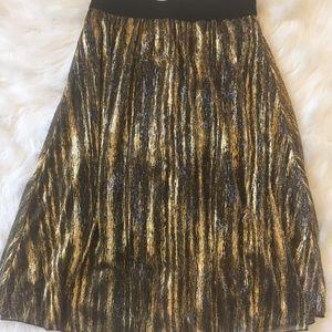 Lularoe Jill Chiffon Lined Skirt black/gold